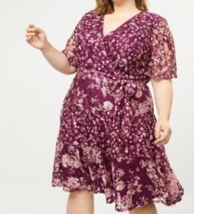 New Lane Bryant Wine/Pink Floral  Lace Dress: 18